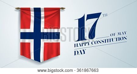 Norway Constitution Day Greeting Card, Banner, Vector Illustration. Norwegian National Day 17th Of M