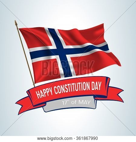 Norway Constitution Day Greeting Card, Banner, Square Vector Illustration. Norwegian Holiday 17th Of