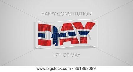 Norway Happy Constitution Day Vector Banner, Greeting Card. Norwegian Wavy Flag In Nonstandard Desig