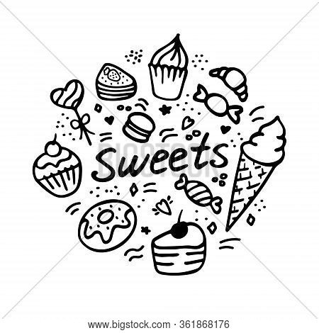 Vector Collection Of Party Pastry, Cakes And Sweets Icons. Hand Drawn Illustration With Cakes And Cu