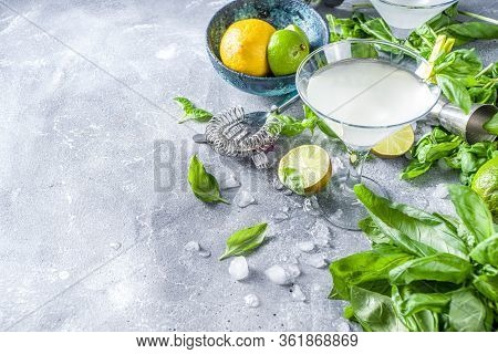 Basil Vodka Gimlet Martini
