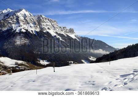 Mountains Landscape At Forclaz Pass Near Annecy, France