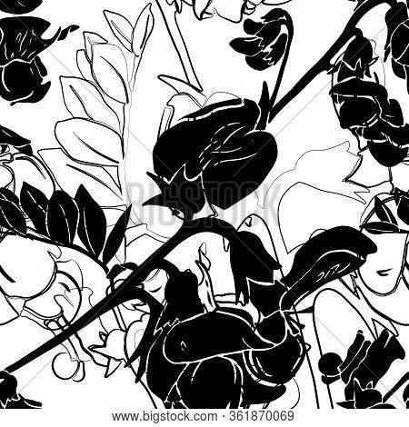 Seamless Pattern With Flowers And Leaves Of Garden Vetch. Black And White. Nature Ecological Concept