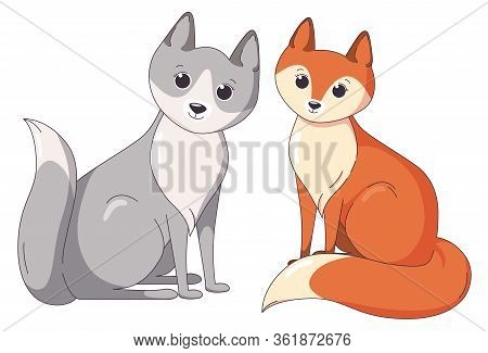 Fox And Wolf Sitting Together. Forest Predators. Vector Illustration In Cute Cartoon Style