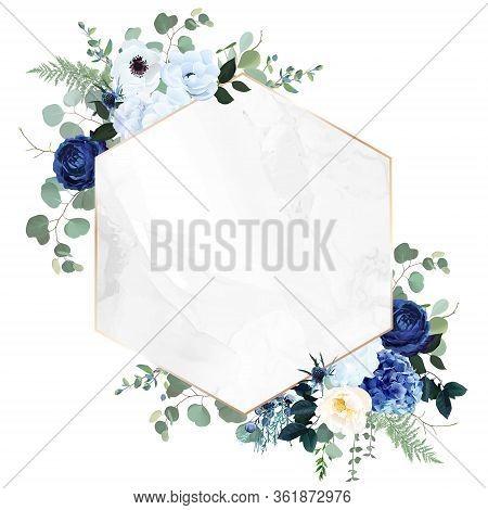 Royal Blue, Navy Garden Rose, White Hydrangea Flowers, Anemone, Thistle, Eucalyptus, Vector Design M