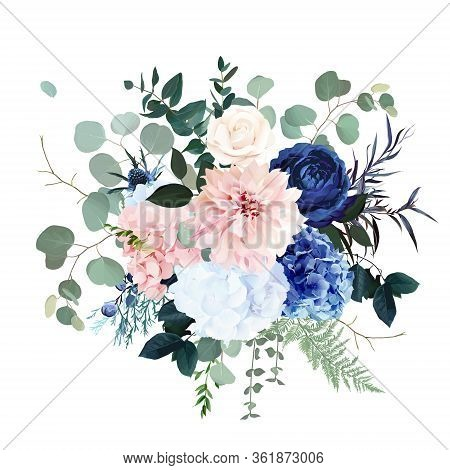 Classic Blue Rose, Pink Hydrangea, Ranunculus, Dahlia, Thistle Flowers, Emerald Greenery And Eucalyp
