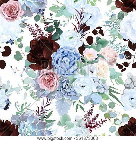 Seamless Vector Design Pattern Of Dusty Blue Garden Rose, White Anemone, Camellia, Succulent, Ranunc