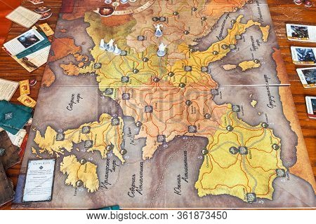 Moscow, Russia - March 7, 2020: The Fury Of Dracula Third Edition Adventure Board Game On Table. The