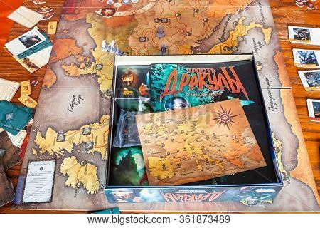 Moscow, Russia - March 7, 2020: Box Of The Fury Of Dracula Third Edition Adventure Board Game. The G