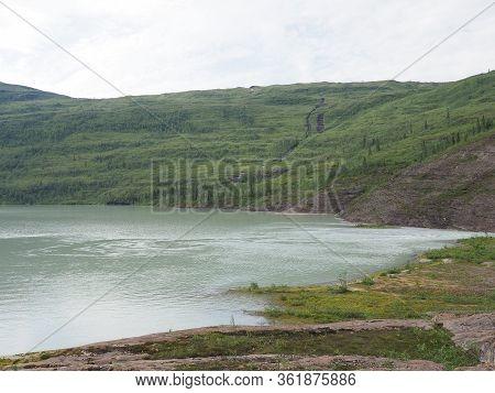 Desolate View To Svartisvatnet Lake Landscapes Near European Svartisen Glacier In Nordland County In