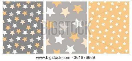 Set Of 3 Varius Star Vector Patterns. Irregular Hand Drawn Simple Starry Sky Print. Nursery Backdrop