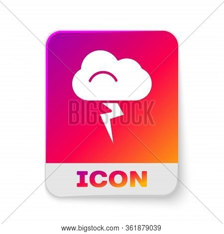 White Storm Icon Isolated On White Background. Cloud And Lightning Sign. Weather Icon Of Storm. Rect