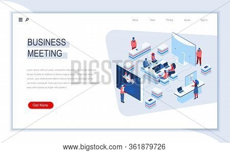 Business Meeting Isometric Landing Page. Video Conference, Creative Teamwork Collaboration, Online C