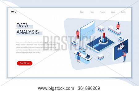 Data Analysis Isometric Landing Page. Traffic And Signal Analysis, Filter And Optimization, Big Data