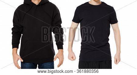 Black Hoody T-shirt Mock Up Set Isolated Front View, Man In Black Hoody And Man In T Shirt Mockup Se