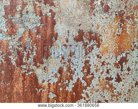 Rusty Metal Background With Streaks Of Rust. Rust Stains. Rystycorrosion. Corroded Metal Background.
