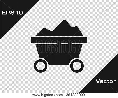 Black Coal Mine Trolley Icon Isolated On Transparent Background. Factory Coal Mine Trolley. Vector I