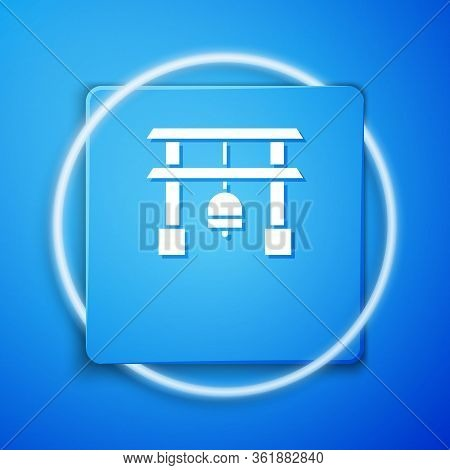 White Japan Gate Icon Isolated On Blue Background. Torii Gate Sign. Japanese Traditional Classic Gat