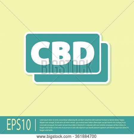 Green Cannabis Molecule Icon Isolated On Yellow Background. Cannabidiol Molecular Structures, Thc An