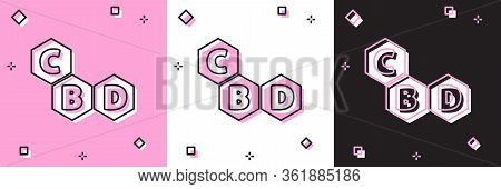 Set Cannabis Molecule Icon Isolated On Pink And White, Black Background. Cannabidiol Molecular Struc