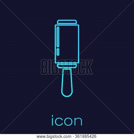 Turquoise Line Adhesive Roller For Cleaning Clothes Icon Isolated On Blue Background. Getting Rid Of