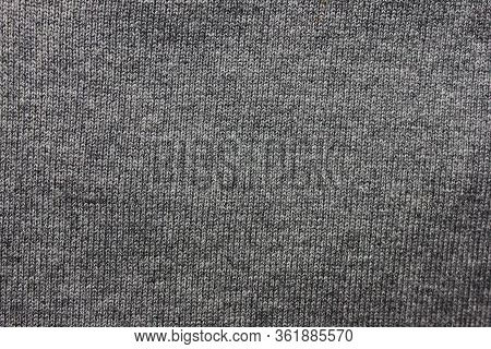 Grey Fabric Texture Pattern, Smooth Simple Woven Background. Empty Cloth Material Of Stylish Clothin