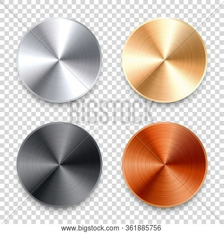 Realistic Metal Chrome Button. Silver Steel Volume Control Knob. Application Interface Design Elemen
