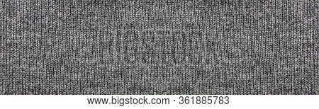 Gray Texture Fabric Background Of Empty Seamless Woven Clothes Pattern. Blank Casual Thread Backdrop