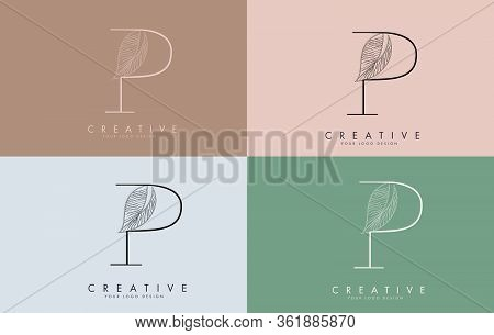 Outline Letter P Logo Icon With Wired Leaf Concept Design On Colorful Backgrounds. Letter P With Nat
