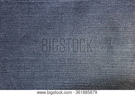 Denim Blue Jeans Texture Background Of Empty Fabric Canvas, Close Up Top View Banner. Blank Jean Tex