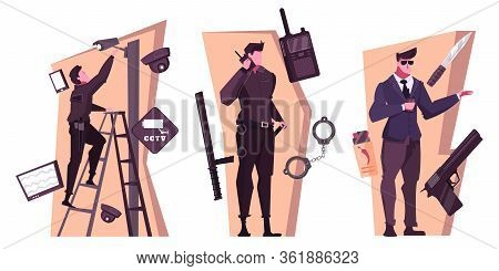 Security Service Flat Compositions With People Working Bodyguard Home And Office Safety Isolated Vec