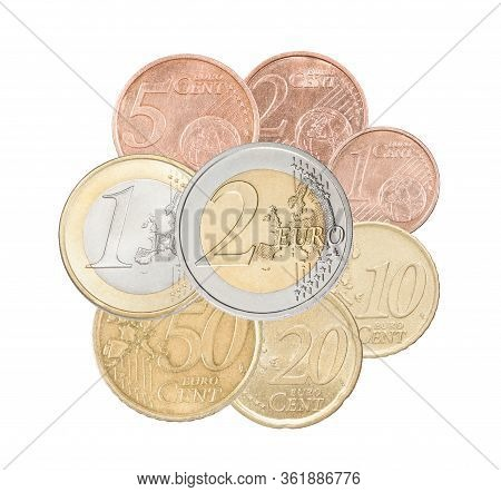 A Full Set Of Euro Coins Collected In One Pile And Isolated On A White Background