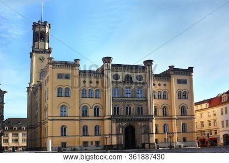 Historic Zittau city hall building in Saxony, Germany