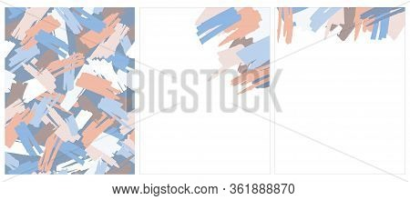 Abstract Hand Drawn Brush Stripes Vector Pattern And 2 Layouts. Blue,pale Red And Brown Splashes On
