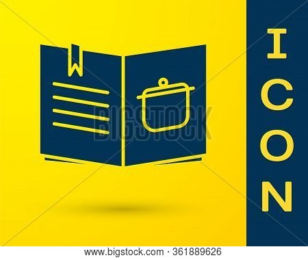 Blue Cookbook Icon Isolated On Yellow Background. Cooking Book Icon. Recipe Book. Fork And Knife Ico
