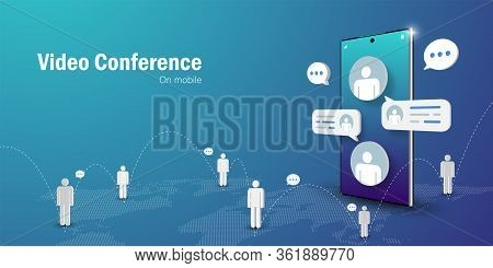 Telecommunication Concept, Video Conference Business Meeting Online On Mobile Smartphone, Web Banner