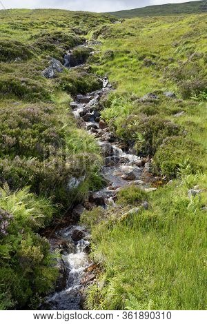 Mountain Stream Allt Molach, Rannoch Moor, Highland, Scotland, Uk  Viewed From West Highland Way Nea