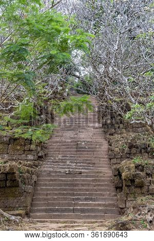 Stairs To The Sanctuary And Hilltop Temple Of Wat Phou - Champasak - Laos - Asia