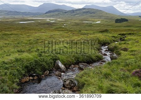 Meall Beag (476m) & Meall Mor (492m) With Lochan Na H-achlaise And River Bà, Rannoch Moor, Highland,