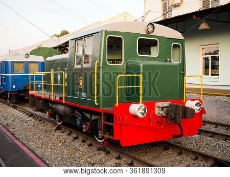 Voronezh, Russia - August 29, 2019: Shunting Locomotive Tgk-2-1, Retro-exhibition Of Railway Equipme
