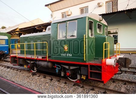 Voronezh, Russia - August 29, 2019: Small Shunting Locomotive Tgk-2-1, Retro-exhibition Of Railway E