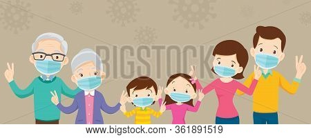 Family And Grandparent Wearing Protective Medical Mask For Corona Virus,covid-19,and Show Victory, F
