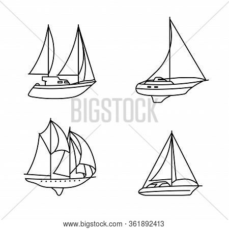 Set Of Sailing Ships. Vintage Sailing Boats. Vector Illustration.