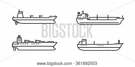 Set Of Large Tanker Ships. Modern Tanker Sea Vessel. Vector Illustration.