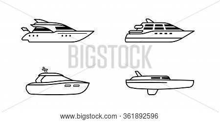 Set Of Oceanic Yachts. Yacht Ship Concept. Luxury Yachts Side View. Vector Illustration.