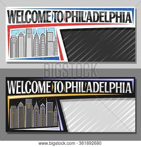Vector Layouts For Philadelphia With Copy Space, Decorative Horizontal Voucher With Line Illustratio
