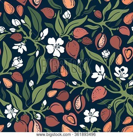 Almond Retro Seamless Pattern. Vector Green Tree, Wild Branch, Nut, Leaf, White Summer Flower In Blo