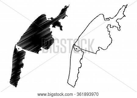 Batumi City (republic Of Georgia, Autonomous Republic Of Adjara) Map Vector Illustration, Scribble S