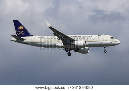 Istanbul / Turkey - March 30, 2019: Saudia Airbus A320 Hz-as56 Passenger Plane Landing At Istanbul A