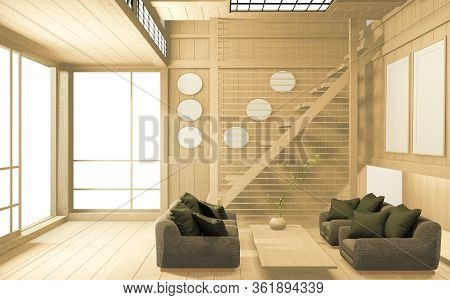 Tropical Interior Design With Sofa For Living Room Japanese Style. 3D Rendering